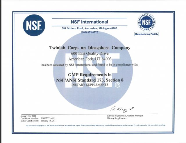 Twinlab Earns Nsf Certification Ironmag Bodybuilding Blog